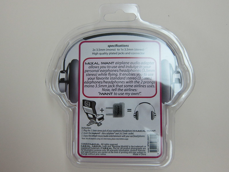 McKAL Airplane Audio Adapter - Packaging Back