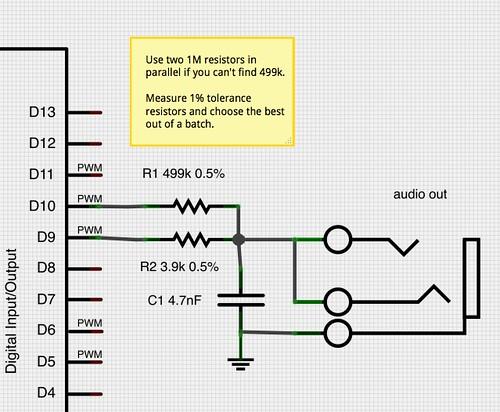 HIFI output connection from Mozzi documentation.
