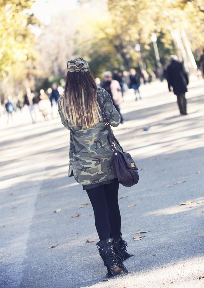 street style barbara crespo camouflage retiro madrid fashion blogger outfit