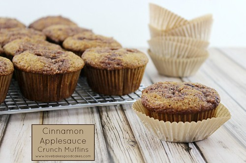 Cinnamon Applesauce Crunch Muffins on cooling rack with one muffin close up.