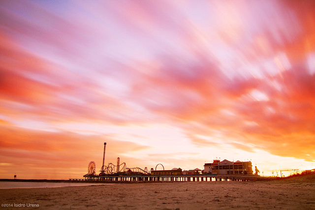 Sunset at Pleasure Pier - Galveston