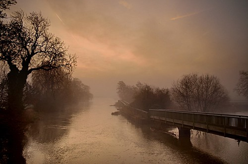 bridge trees light sun mist tree sunshine misty sunrise river landscape landscapes nikon scenery view scene nottinghamshire soar rmac zouch rmacphotography d7000