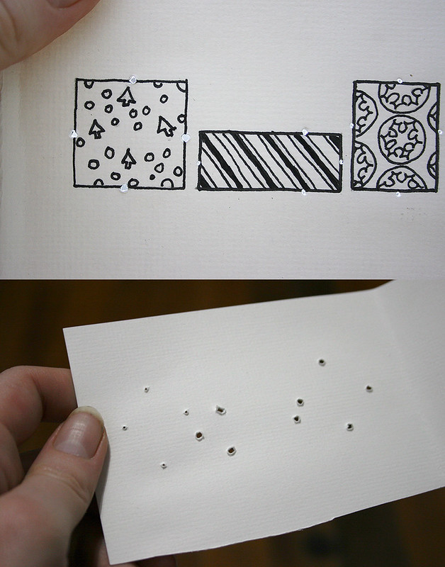 Christmas cards - holes poked through the card front and inside