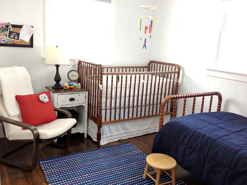 red, white, and blue nursery