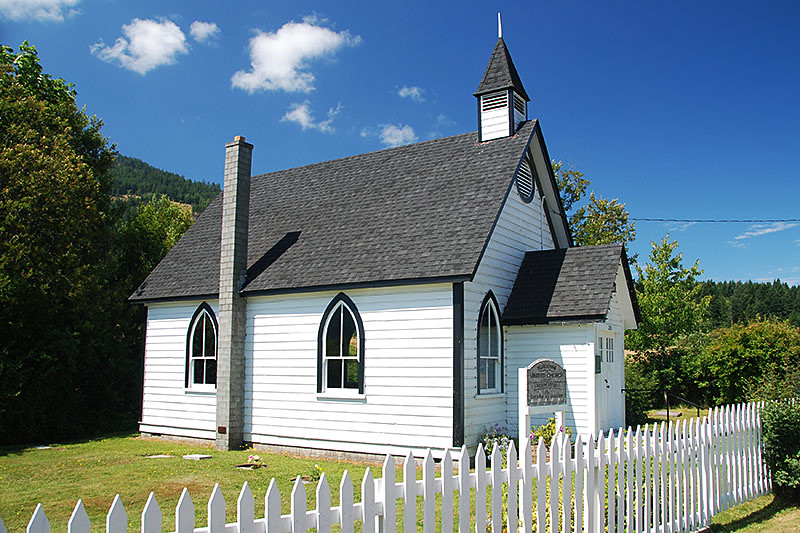 Burgoyne United Church near Fulford on Saltspring Island, Gulf Islands, Georgia Strait, British Columbia, Canada