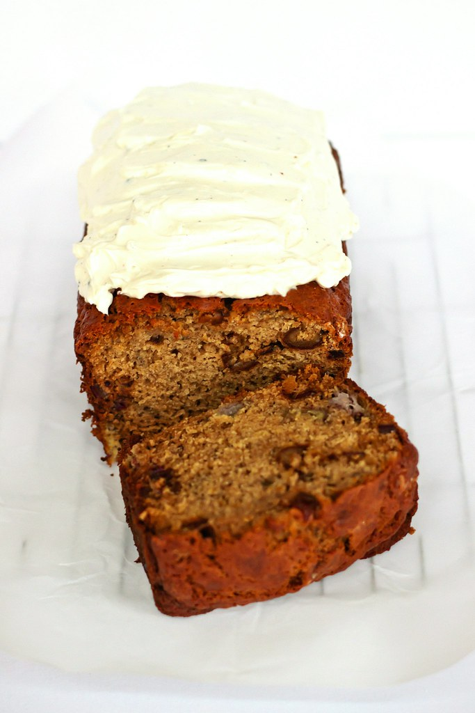 {banana-date bread with cardamom cream cheese icing}