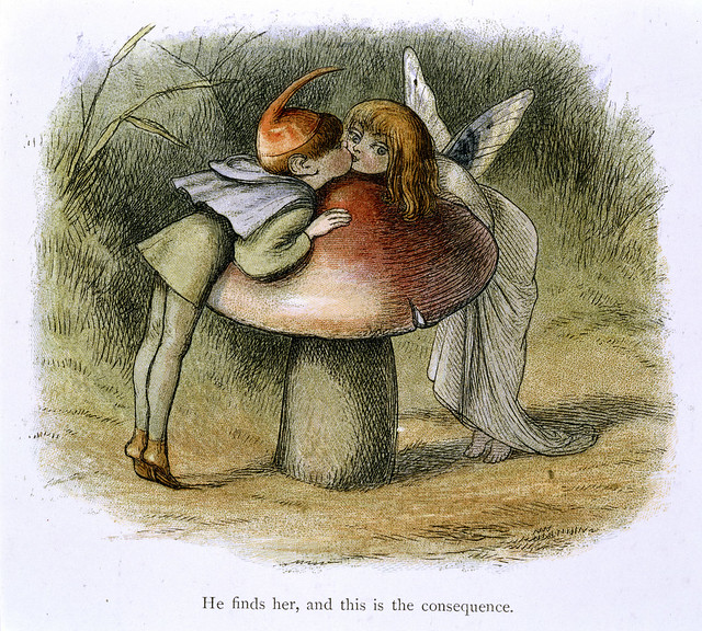 In Fairy Land A series of pictures from the elf-world by Richard Doyle With a poem by W Allingham - caption: 'An elf and a fairy kissing'
