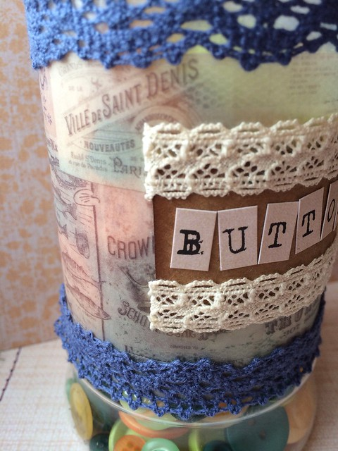 Upcycled craft storage jar closeup