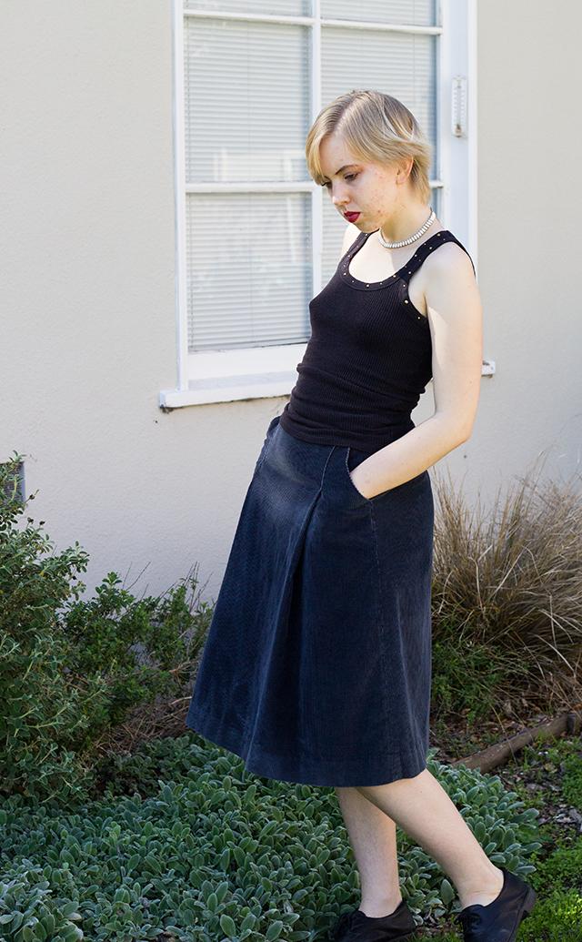 black tank top, vintage navy blue corduroy skirt