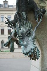 carving, art, gargoyle, sculpture, dragon, iron, statue,