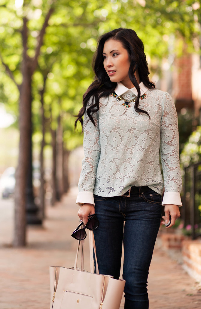 cute & little blog | petite fashion | mint lace collared top, rag bone skinny jeans, statement necklace, yellow pumps, nude tote | spring outfit