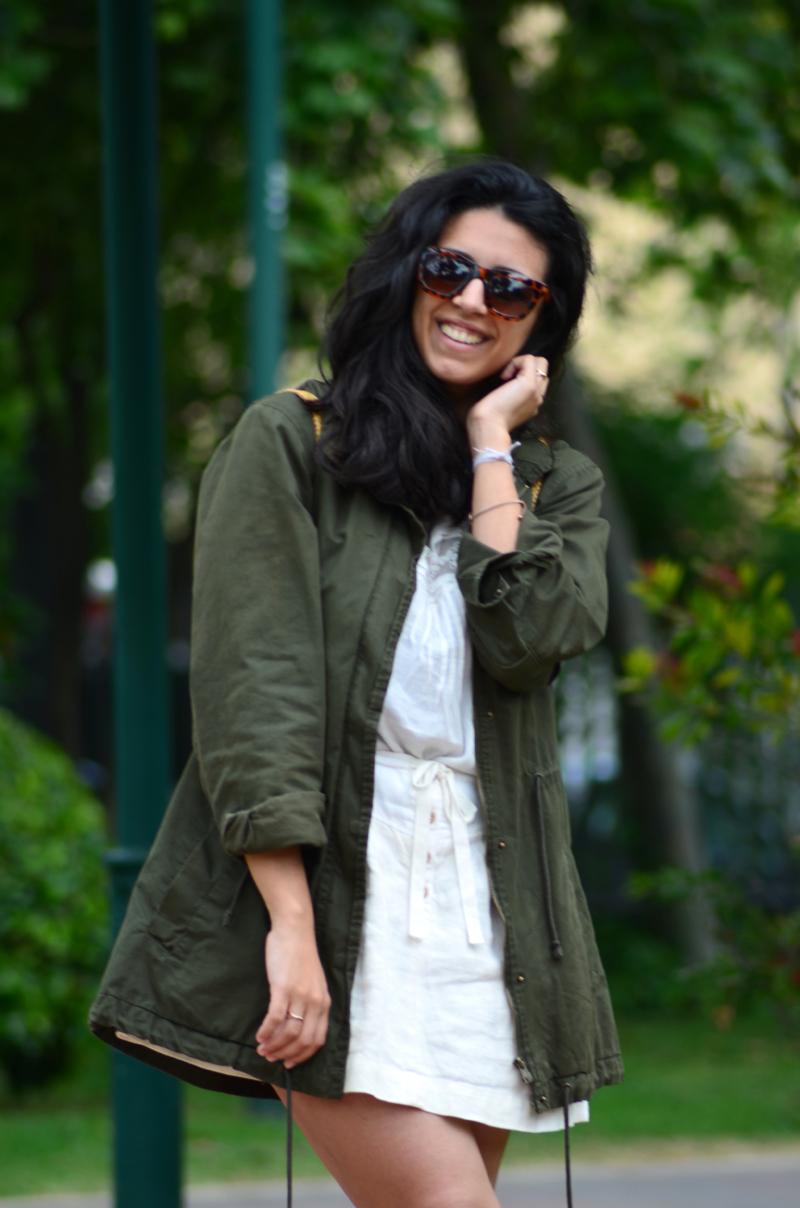 florenciablog green parka zara stradivarius look beig bolso hippie mochila gandia fashion style (11)