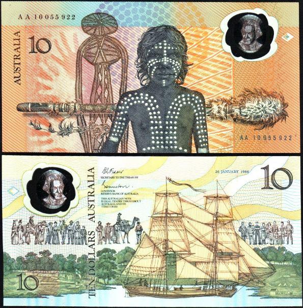 10 Dolárov Austrália 1988, polymer, Pick 49a