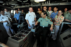 Gen. Fang Fenghui tours the bridge of littoral combat ship USS Coronado (LCS 4) May 13. (U.S. Navy/MC2 Jesse L.Gonzalez)