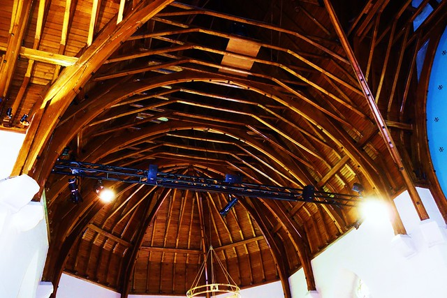 Inverted boat shaped roof of Luss Parish Church, Scotland