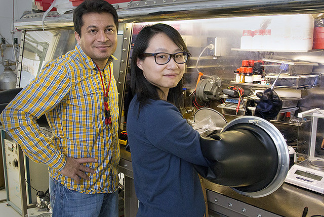 Scientists Aditya Mohite, left, and Wanyi Nie are perfecting a crystal production technique to improve perovskite crystal production for solar cells