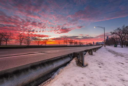 morning winter light lake snow chicago color ice clouds sunrise dawn drive illinois nikon highway lsd il shore hancock nikkor f4 d610 1635mm