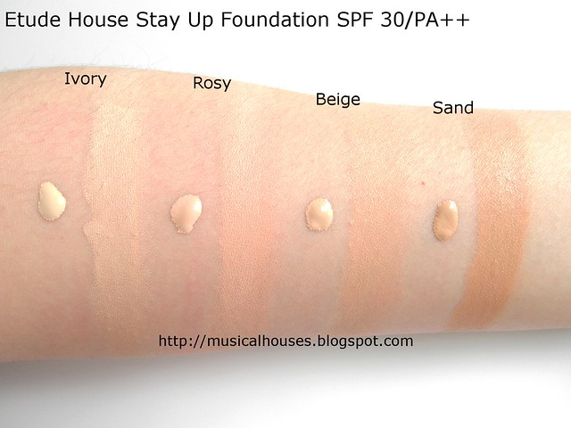 Etude House Stay Up Foundation Swatches