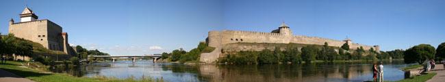 Vista del río Narva que separa la frontera de Estonia (izquierda) y Rusia (derecha). © Paco Bellido, 2005