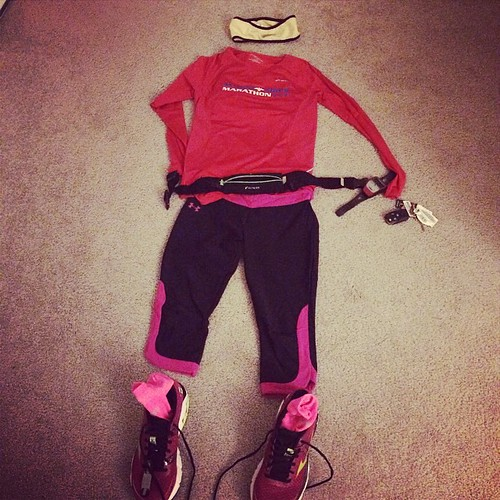 It's looks like Cupid barfed on Flat Jess with all this pink and red for the @runpacers Love the Run your With tomorrow.