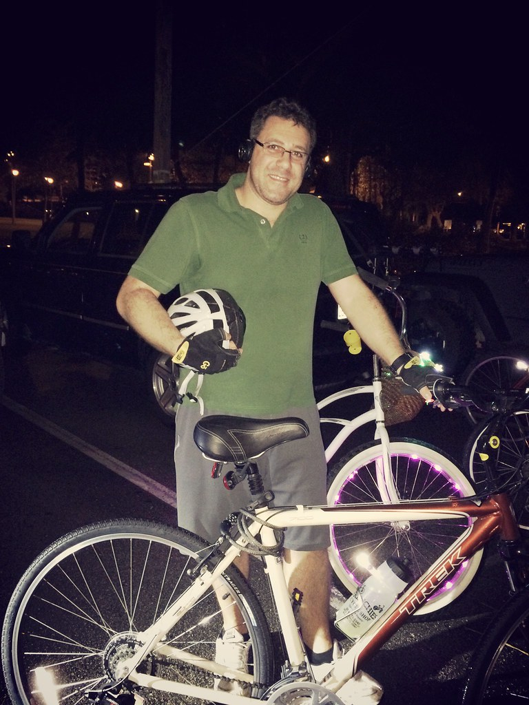 My friend on his first critical mass ride! LDUB Feb 2015