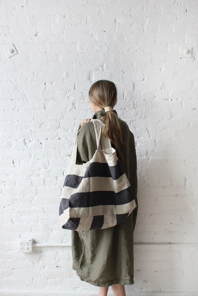 Ichi Antiquites Gather Wide Dress & Border Linen Bag