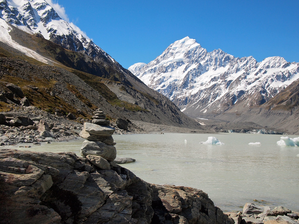 Hooker Glacier Lake at Mount Cook