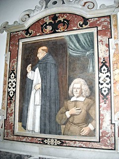"""""""The Blessed Dominican Guido Marramaldo and donor"""" - fresco by Antonio Solario, so-called """"lo Zingaro"""" (Civita d'Aquino about 1465-Naples 1530) - Church of San Domenico Maggiore in Naples"""