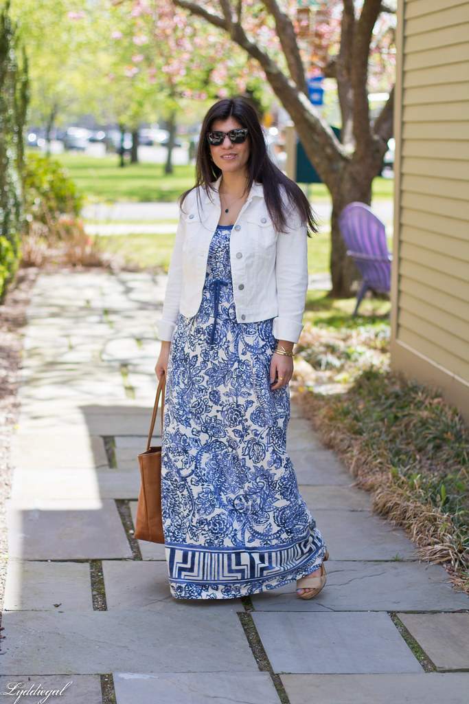 floral maxi dress, white denim jacket, brown tote-2.jpg