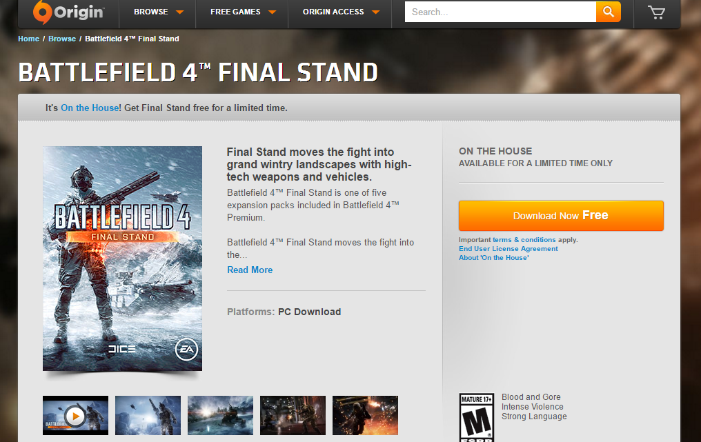 Battlefield 4 Origin on the House
