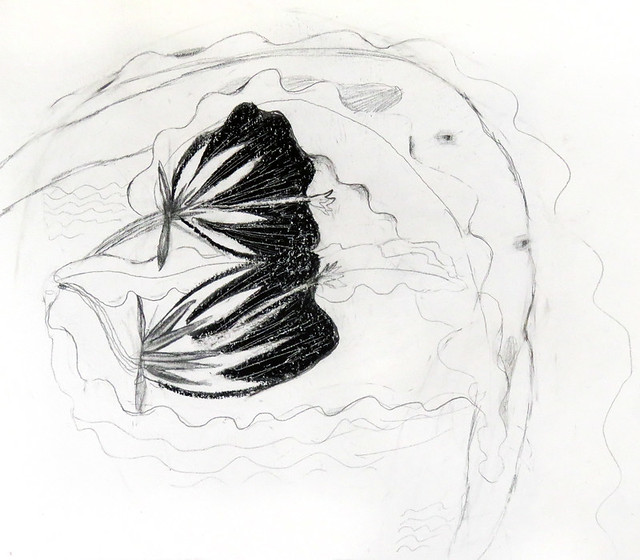 Pencil and Oil Pastel Drawing of a Dancer in the Queen of the Night (Night-blooming Cereus)
