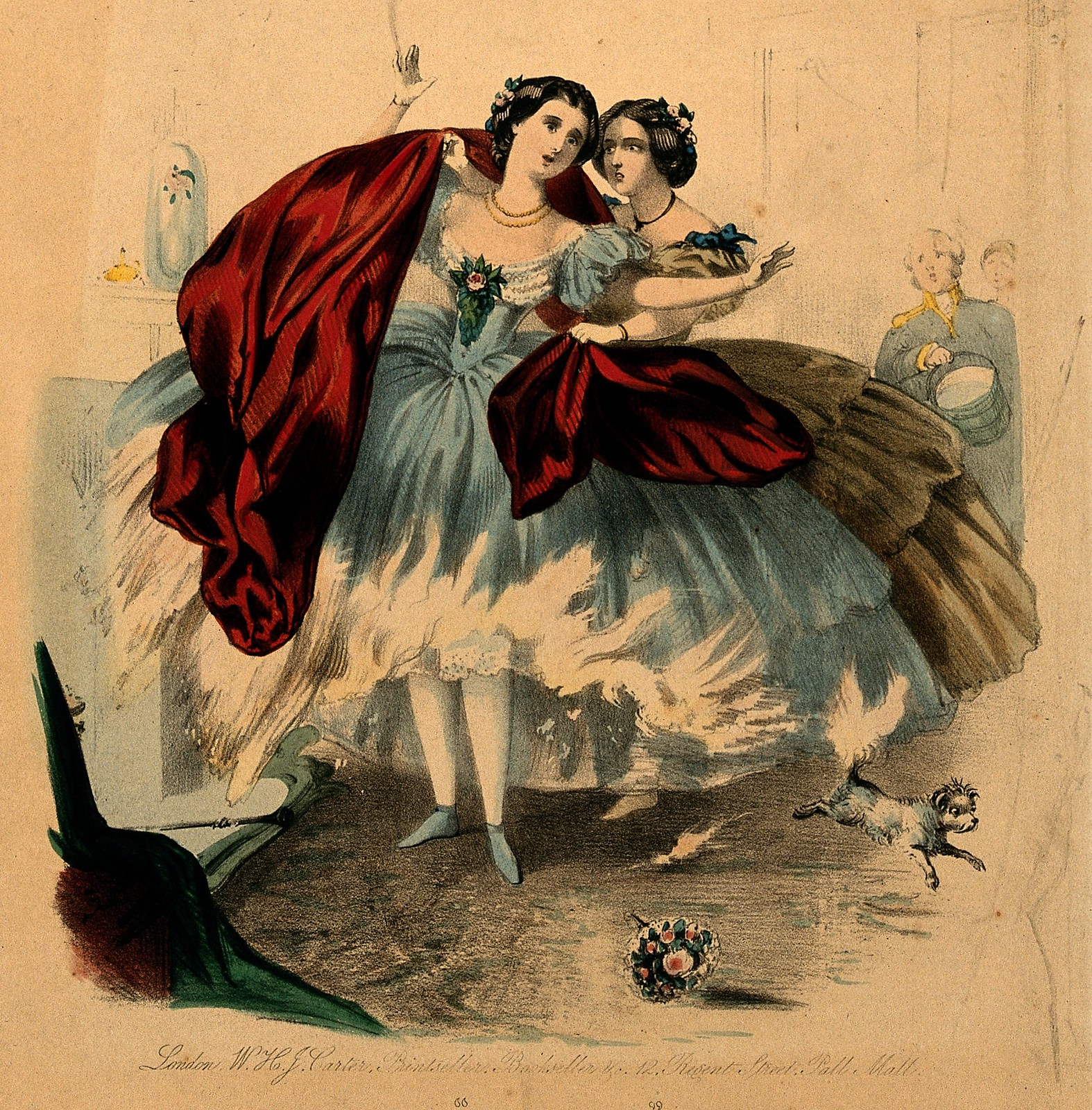 c. 1860. Women wearing crinolines which are set on fire by flames from a domestic fireplace.