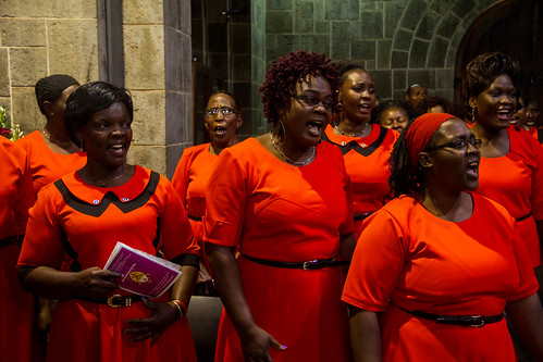A choir sings during the service
