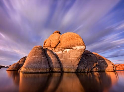longexposure sunset arizona lake reflection clouds sunrise az tranquil prescott watsonlake michaelwilson