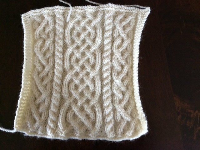 Barbara McIntire Saxon braid cable Aran afghan square