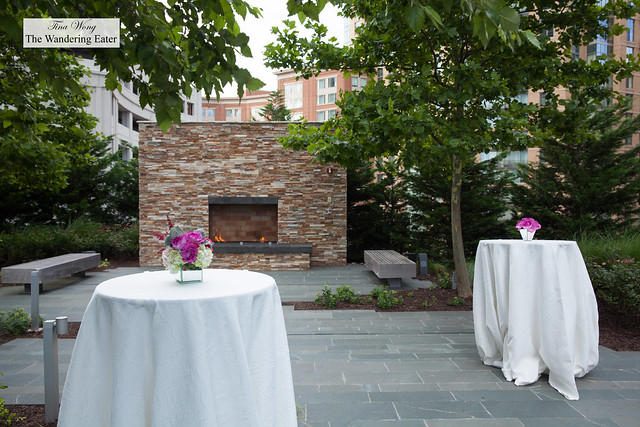 Outdoor fireplae as part of the wedding cocktail reception