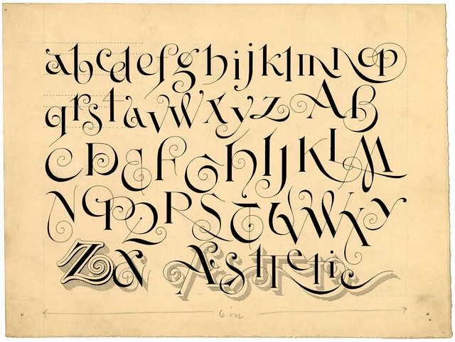 original ink sketch of Aesthetic Text alphabet