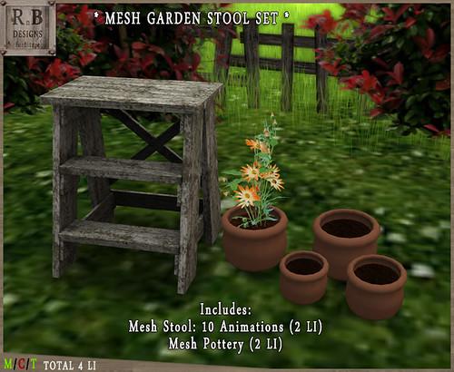 PROMO ! *RnB* Mesh Garden Stool Set - 10 Anims - Aged White 2