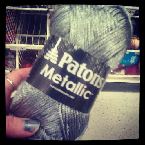 I was so tempted to buy metallic yarn at Michael's! It was pretty amazing. I should go back with a coupon.