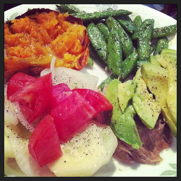 Dinner! Pork tenderloin, baked sweet potato, roasted sugar snap peas ...
