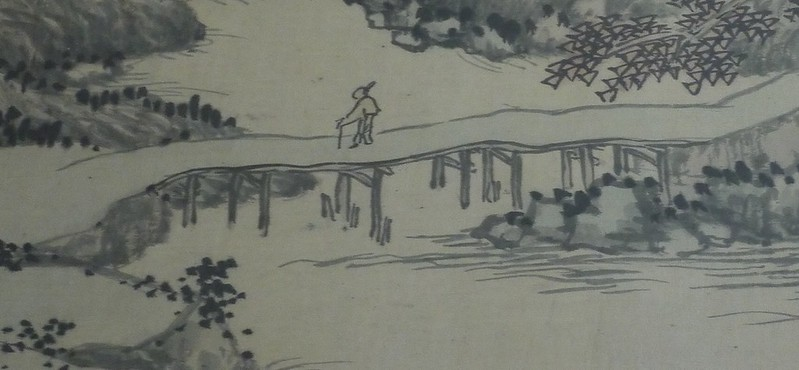 05 沈周,山水图局部1,1486年,绢本水墨浅设色