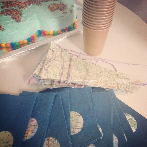 Lolly bags and map bunting ready.