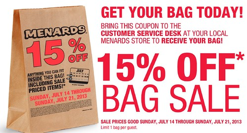 image relating to Menard Printable Coupons known as 15% off Every thing On your own Can Healthy Inside of the Bag Printable Coupon