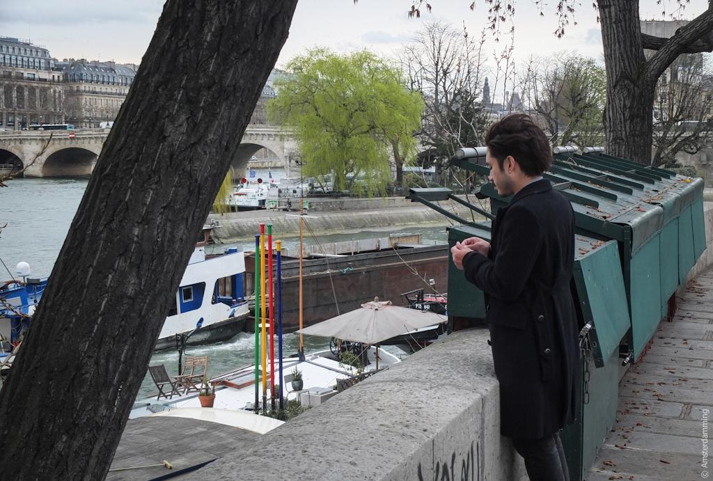 Paris, Man Smoking by the River