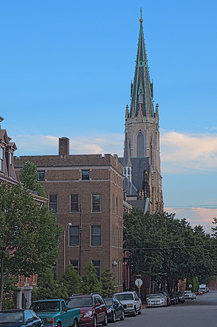 Soulard Neighborhood, in Saint Louis, Missouri, USA - spire of Saints Peter and Paul Church