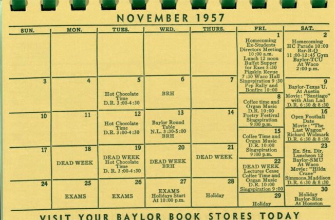 Student Union Building activities calendar, November 1957