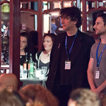 Waiting in the wings: Neil Gaiman and Craig Silvey get ready to get on stage for Literary Death Match |