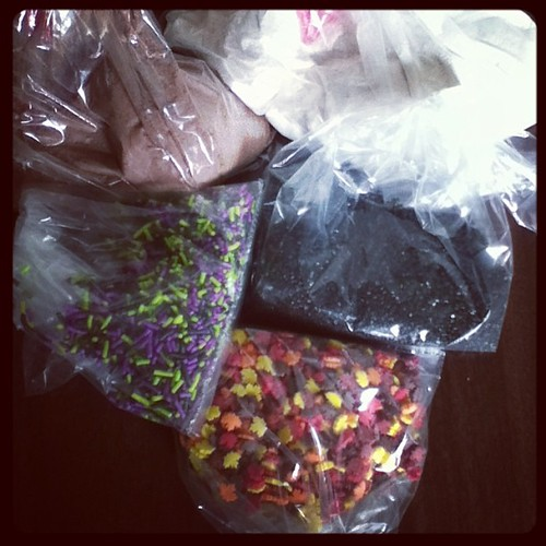 Stocked up at the Bulk Barn... Salted caramel hot chocolate, candy cane hot chocolate, black sugar, monster mix and autumn leaves sprinkles! #halloween #autumn #sprinkles