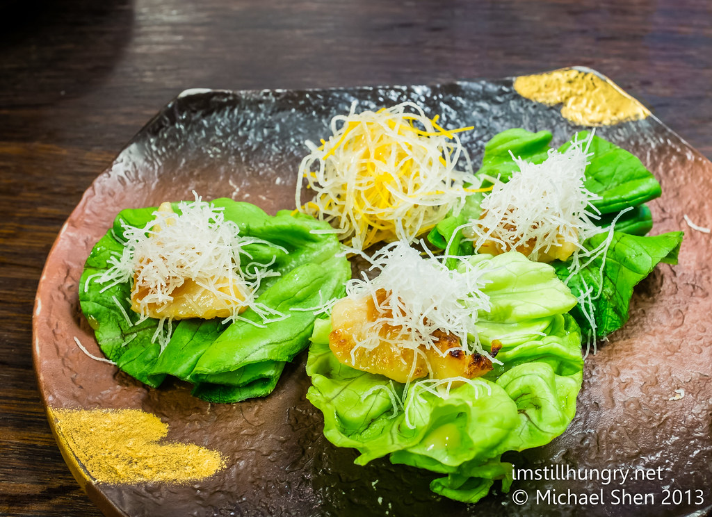 Silver cod lettuce cups: grilled miso-marinated silver cod in lettuce cups  Sake Restaurant