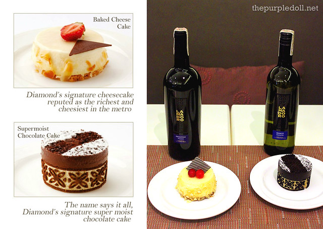 Lamadoro Primitivo with Baked Cheesecake and Lamadoro Bianco with Supermoist Chocolate Cake